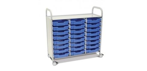 Callero Plus Treble Column Trolley Set 03 Silver (44) w/ 75mm Castors & 24 Shallow F1   Trays