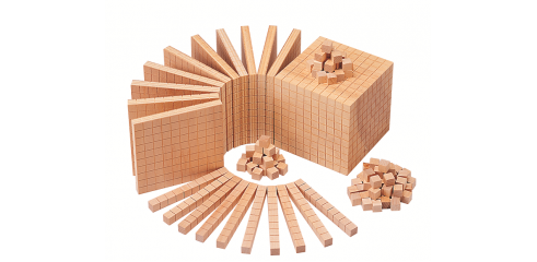 Wooden Base Ten Set(121pcs) -100cubes,10rods,10flats,1block)