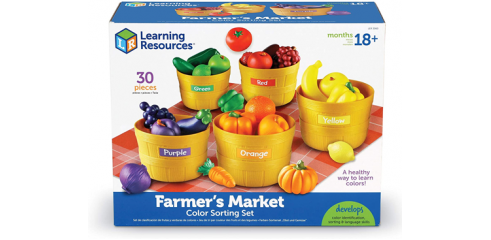 Farmer's Market Color Sorting Set, Homeschool, Play Food, Fruits and Vegetables Toy, 30 Piece Set